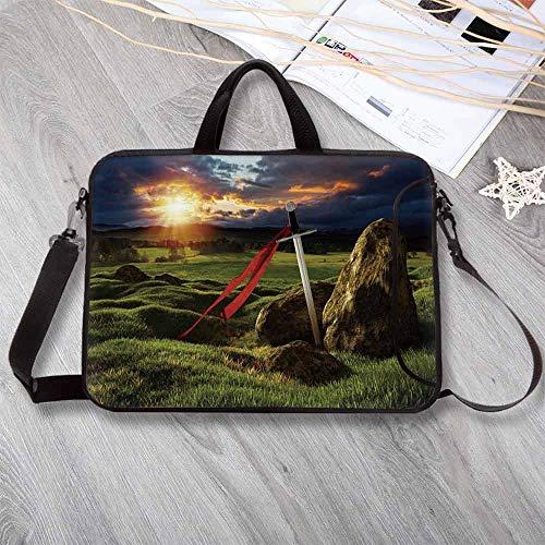 King Anti-Seismic Neoprene Laptop Bag,Arthur Camelot Legend Myth in England Ireland Fields Invincible Sword Laptop Bag for Travel Office School,15.4