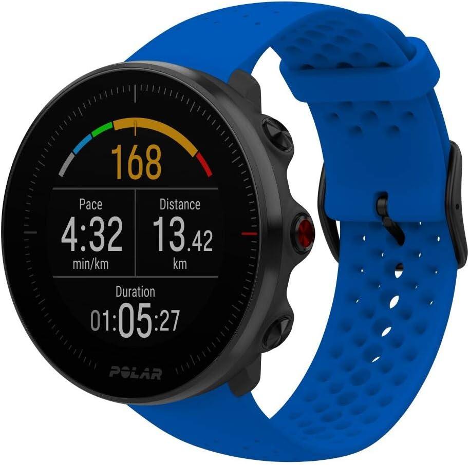 Polar Vantage M -Reloj con GPS y Frecuencia Cardíaca - Multideporte y programas de running - Resistente al agua, ligero - Azul Talla M/L