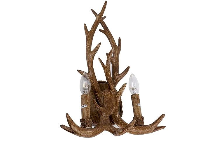 Taiga a2 applique lampada da parete rustico corna di cervo baita