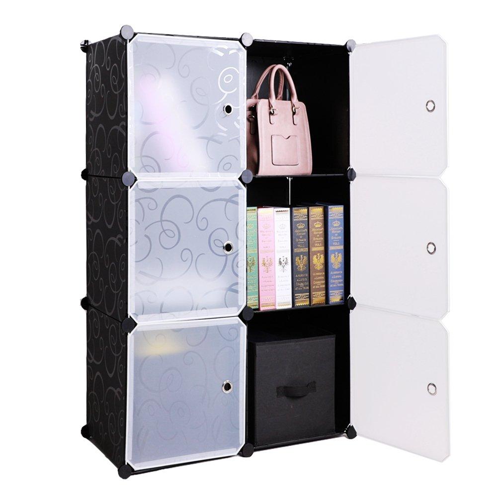 BASTUO Storage Cube Organizer Plastic 6-Cube DIY Modular Storage Cabinet Portable 3-Tier Bookcase Shelf Closet, Black with Wood Hammer