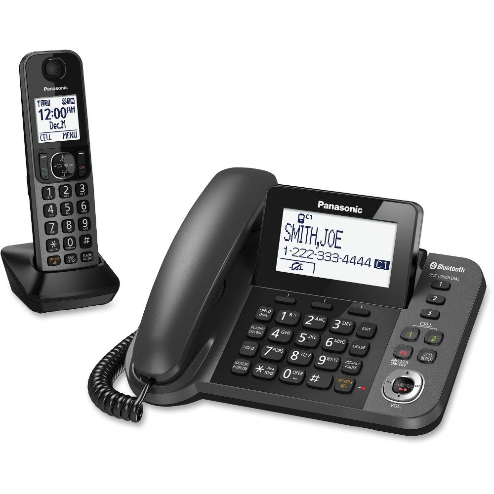 PANASONIC KX-TGF380M DECT 6.0 1.9GHz Link2Cell(R) 1-Line Corded/Cordless with TAD (1 Cordless Handset) - ONE YEAR LIMITED Warranty