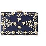 Women's Satin Flower Evening Clutch Pearl Beaded Evening Handbag