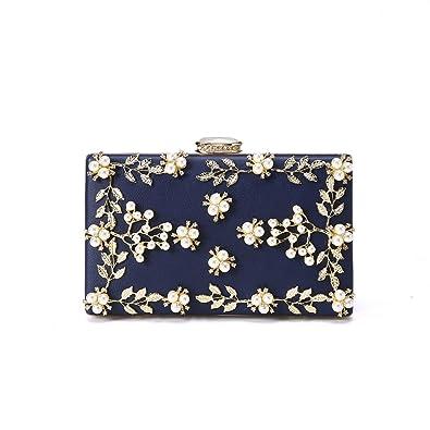 b338847ab3 Women's Satin Flower Evening Clutch Pearl Beaded Evening Handbag ...