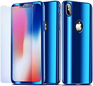 NALIA 360° Case Compatible with iPhone X XS, Full-Body Metal-Look Smart-Phone Cover Protective Front & Back, Ultra-Thin Shockproof Bumper Skin Slim Fit Hardcase with Screen Protector, Color:Blue