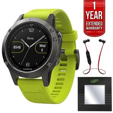 Garmin Fenix 5 deporte 47 mm Reloj GPS – Gris pizarra w/Amp amarillo banda