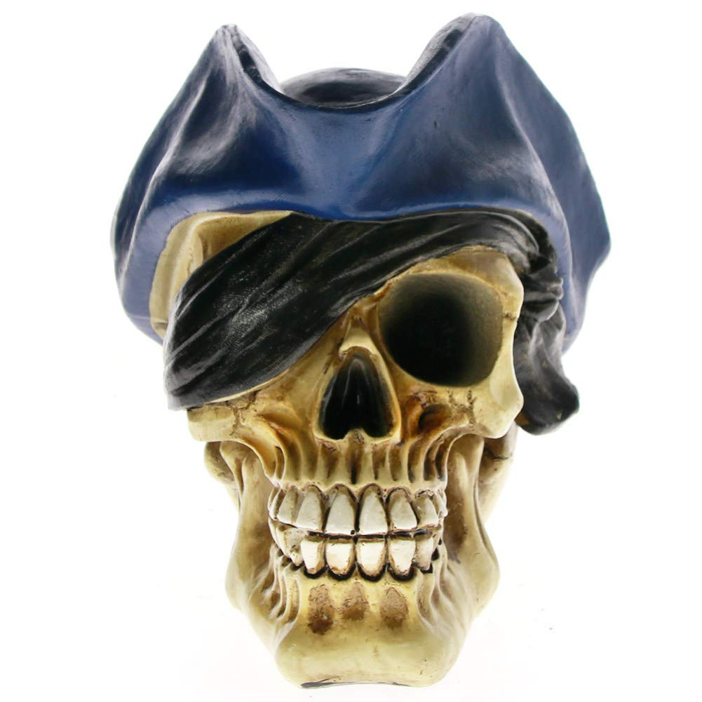AGONG Gothic Pirate Skull Statue Halloween Party Home Decoration Fashion Art Craft Ornament Skeleton Sculpture Accessories