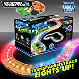 Mindscope LED Laser Twister Tracks 12 Feet of Light Up Flexible Track 1 Light Up Race Car Each Individual Track Piece Contains Lights (Transparent Color System)