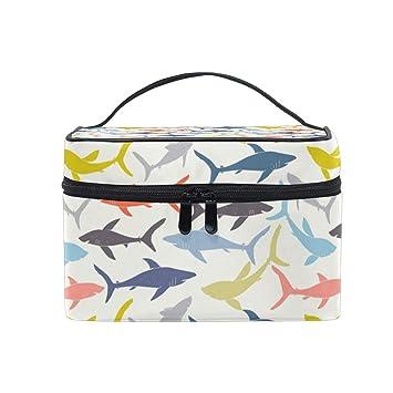 Amazon.com: Colorido tiburón bolsa de maquillaje portátil ...