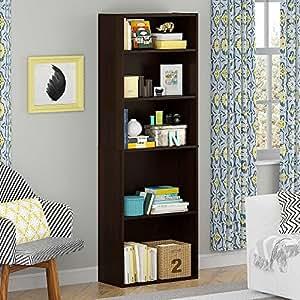 5 Shelf Bookcase Cherry Home Office Furniture