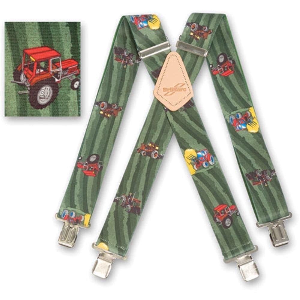 """Brimarc Mens Heavy Duty Tractor Green Fields Braces Trouser Belt Suspender 2"""" 50mm Wide"""