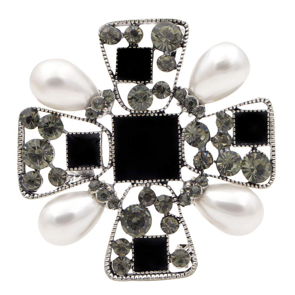 CINDY XIANG Pearl Cross Brooches Women Fashion Baroque Style Pins Vintage Fashion Coat Corsage Gift