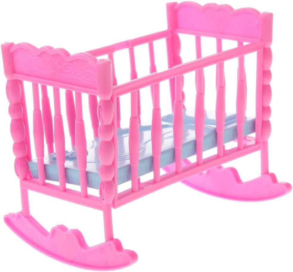 Dolls Pink Plastic Nursery Room Decoration 4 Pieces// Set for Dolls House Miniature Furniture
