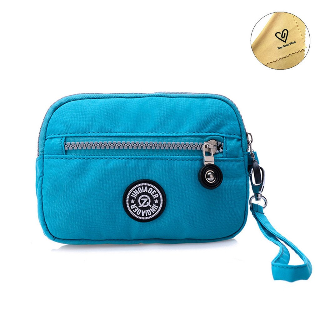 Tiny Chou Dual Layers Zipper Purse Waterproof Nylon Wristlet Bag Clutch Handbag Cell Phone Pouch-Azure