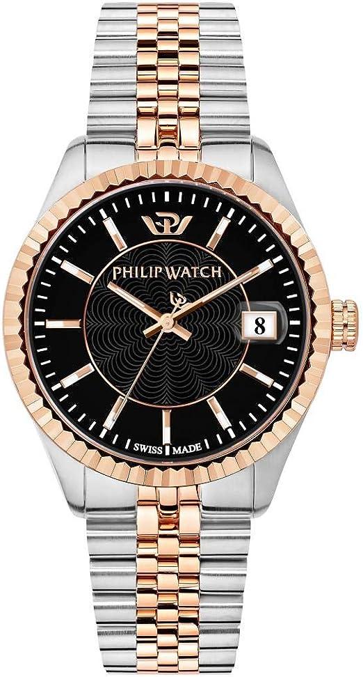 Philip watch orologio da uomo, collezione caribe, swiss made, in acciaio, pvd oro rosa - r8253597044 8033288847342