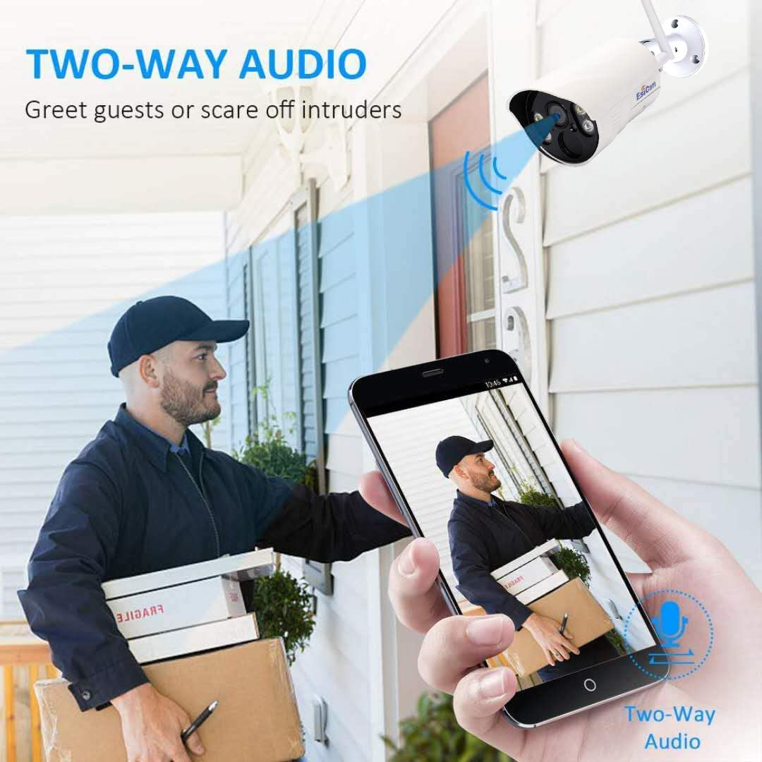 2 Light Source Motion Detection  Cloud Storage SD Card for IOS Android PC EsiCam 1080P Bullet Camera Wireless Security Outdoor Waterproof Wifi Vigil Cam with 2-Way Talk Colorful Night Vision