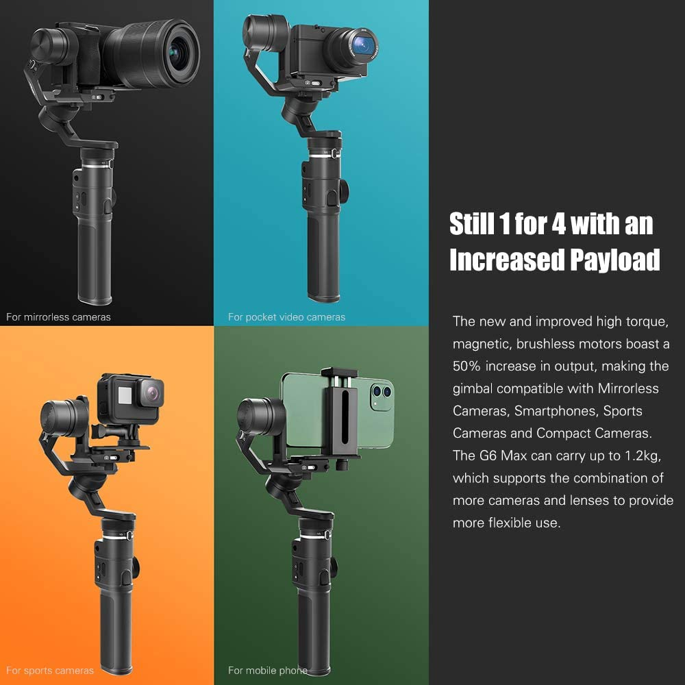 FeiyuTech G6 Max 3-Axis Gimbal Stabilizer Support Zoom//Focus Horizontal Vertical Shooting Reverse Charging Splash-Proof Design for IDC Cameras Pocket Video Cameras Sports Cameras Smartphones