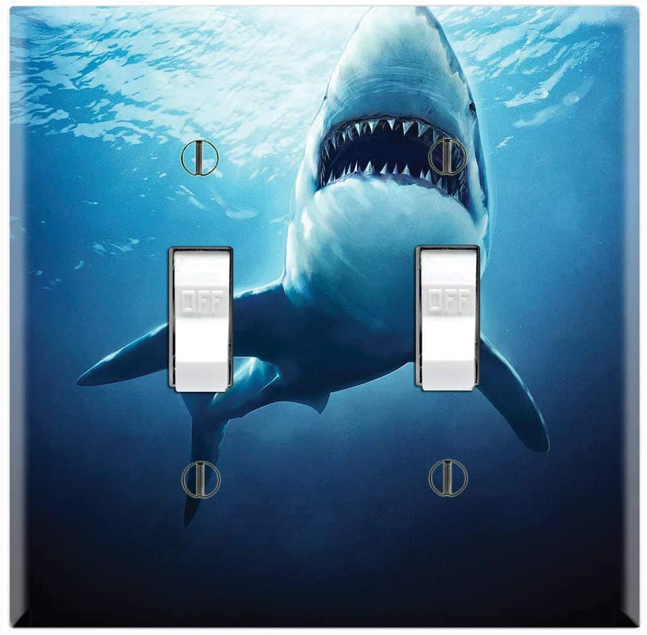 Graphics Wallplates - Great White Shark - Double Toggle Wall Plate Cover