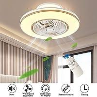Plafondventilatoren met verlichting, verstelbare windsnelheid, dimbaar met afstandsbediening, LED plafond licht 80W Creative Invisible ventilator aan het plafond Lamp Woonkamer Eetkamer Decor (Ø58CM),