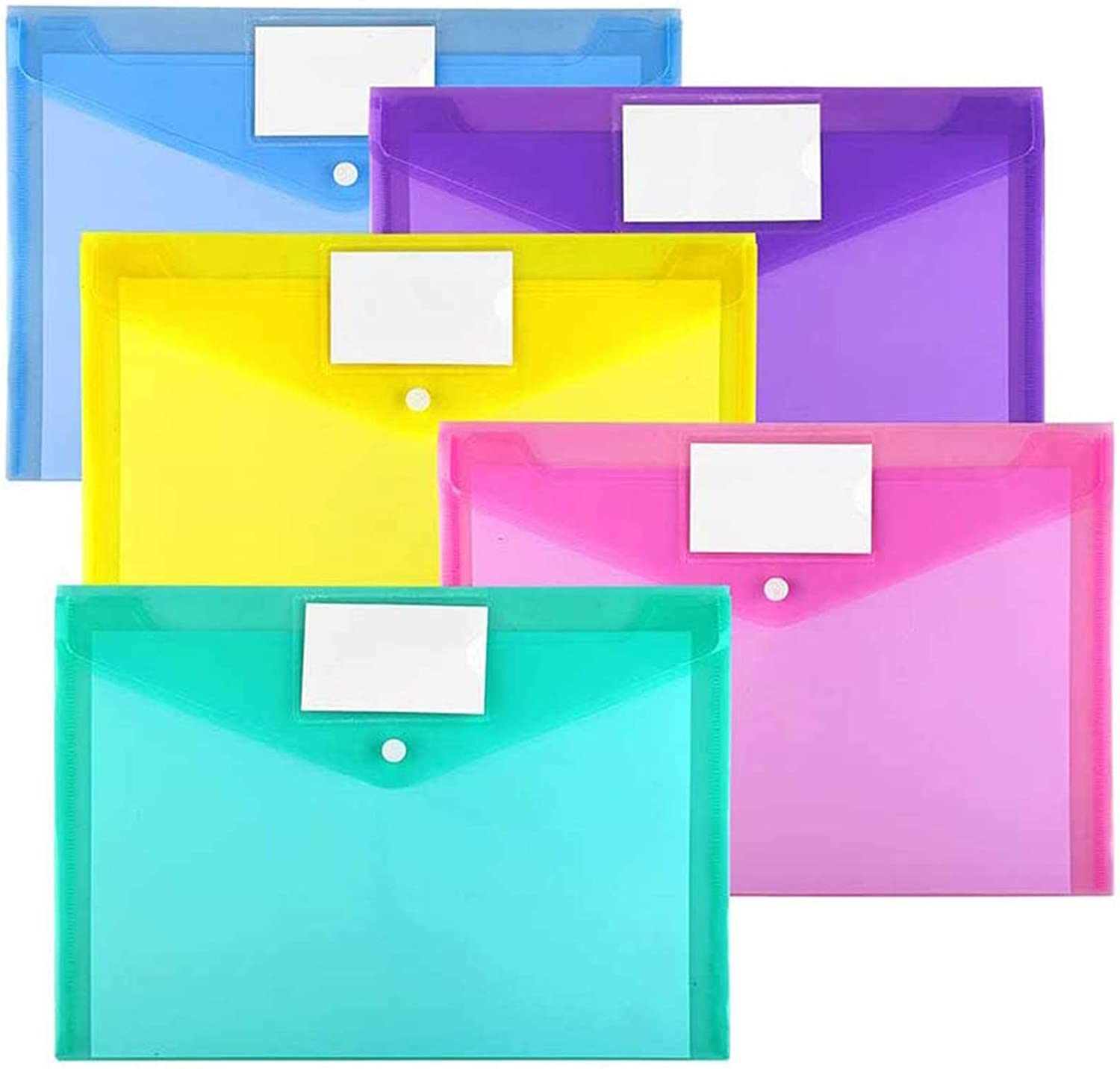 Office School Supplies Organizer 12ea//Pack Letter Envelopes 1 Pack White Transparent Deli File Plastic Envelopes with String Closure Clear Side Loading Folders Letter and A4 Size Suitable