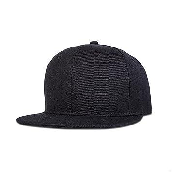 1089b6602b5c7 GADIEMENSS Stylish Flat Baseball Cap Bill Plain Snapback Hats Visor  Adjustable Size Hip-hop Hat Variety of Colors and Designs(All Black)