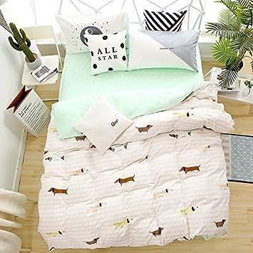 Lelva niños perros ropa de cama conjuntos de funda nórdica Niñas y Niños Beddng algodón 4 piezas: Amazon.es: Hogar