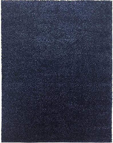Shaggy Collection Solid Color Shag Rug Area Rugs Different Color Options Available (Dark Denim Blue, 3'3