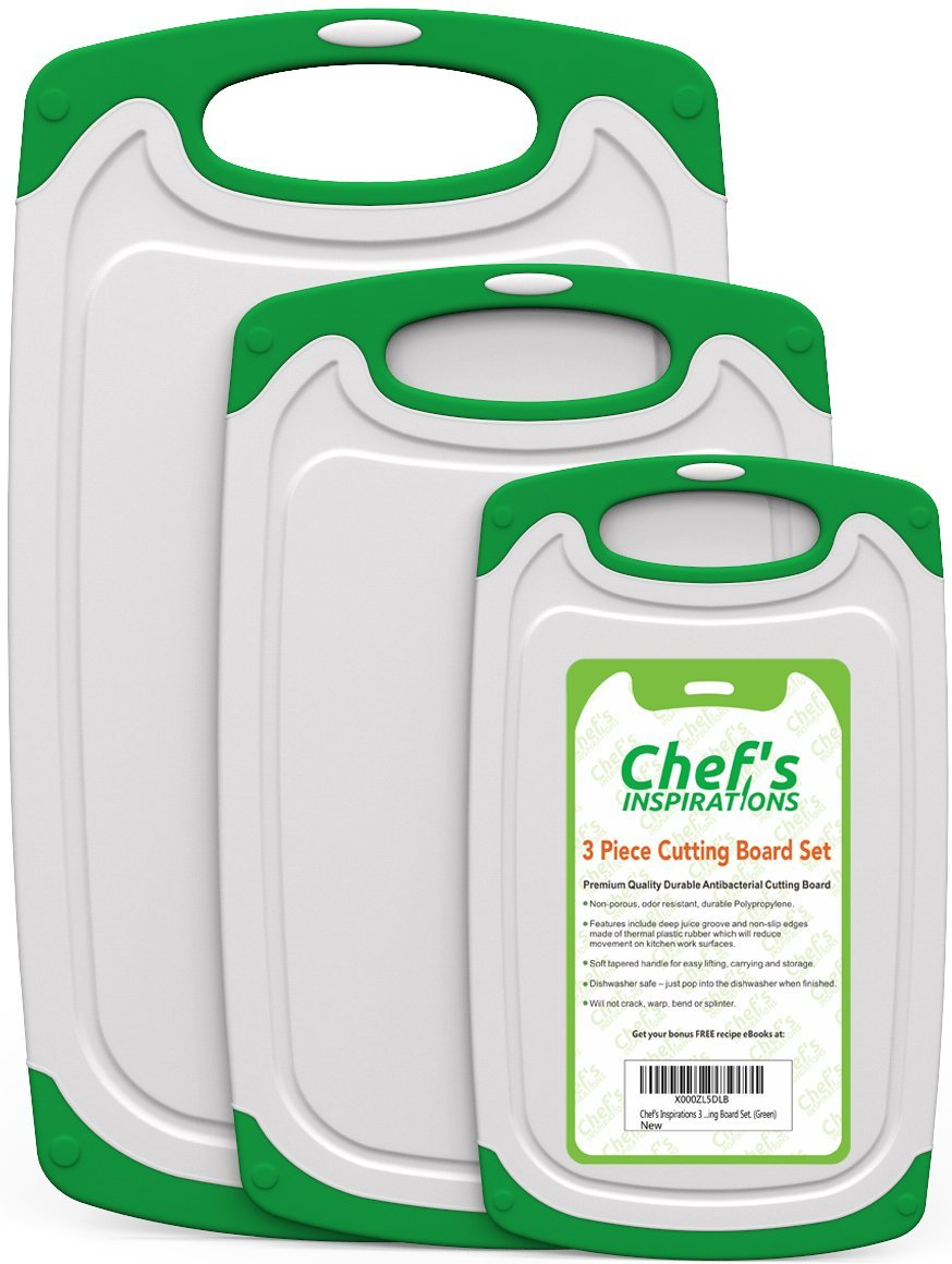 Chef's INSPIRATIONS Cutting Board - 3 Piece Set, Green and White.