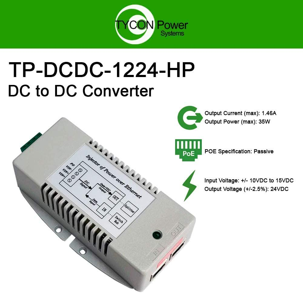 Tycon Systems High Power DC to DC Converter, 12VDC Input Voltage 24VDC Output Voltage, 35W Maximum Output Power (TP-DCDC-1224-HP)