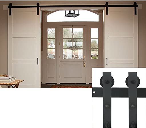 Hahaemall negro interior de acero Puerta Doble deslizante hardware ...