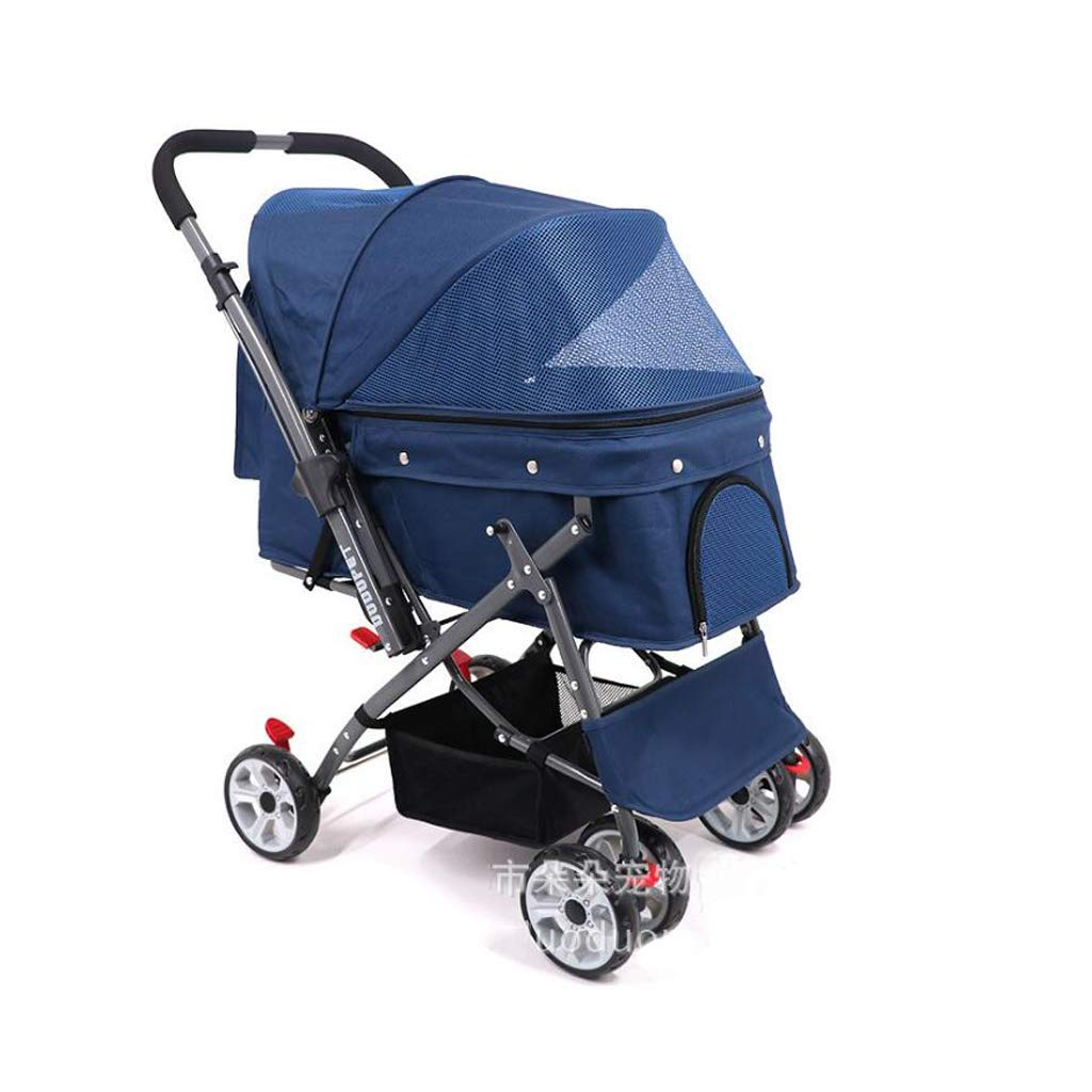 B Dog Trolley Pet Stroller, Multifunction Four Wheels Pushchair Trolley Puppy Jogger Carrier Four Wheels,for Weight 15-50KG Pet (color   B)