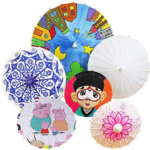 Xiangfeng 1 PCS Blank Paper Umbrella Japanese Chinese Umbrella Parasol Kids DIY Umbrella Projects,Dia 20cm by Xiangfeng (Image #6)