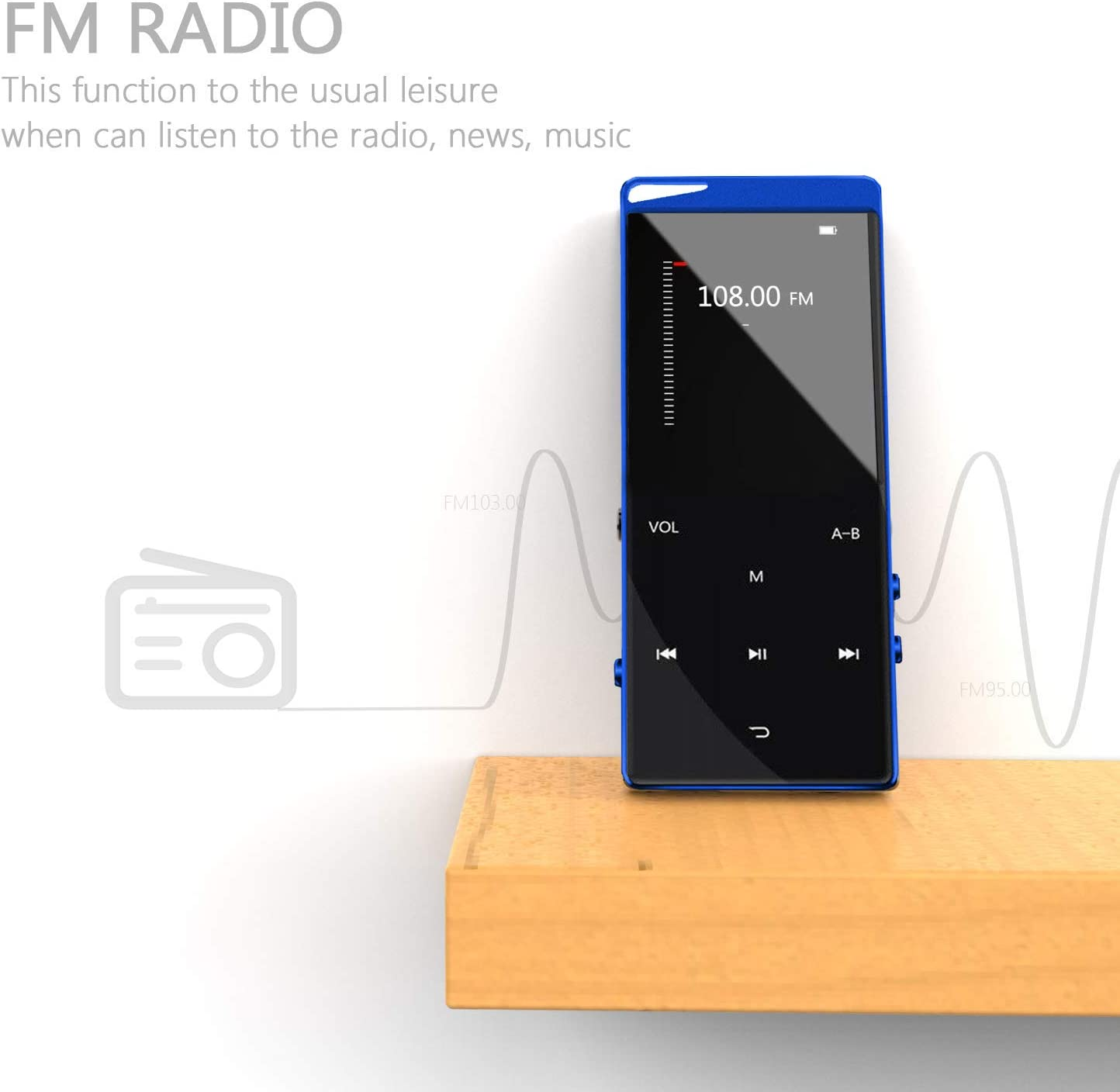Support Up to 128 GB with HiFi Headphone Frehovy 16G MP3 Player with Bluetooth 4.2 Portable Lossless Sound MP3 Music Player with FM Radio Voice Recorder Music Speaker