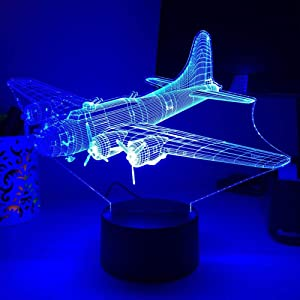 KATA-3D Night Light WW2 B-17 Plane Bomber LED Lamp Optical Illusion Lampara Lighting LED Nightlights Home Decor-Remote