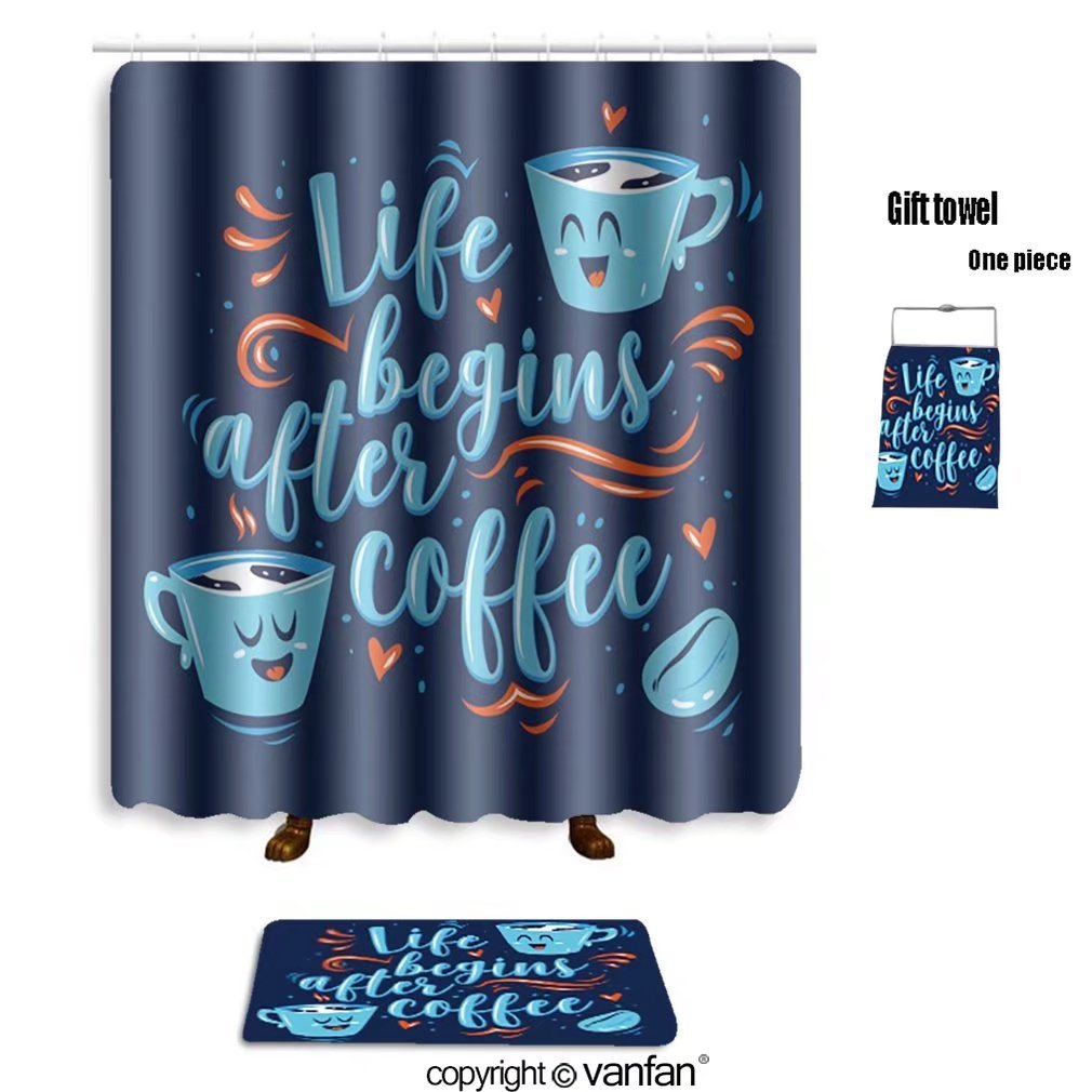 vanfan bath sets with Polyester rugs and shower curtain life begins after coffee lettering with two c shower curtains sets bathroom 69 x 75 inches&31.5 x 19.7 inches(Free 1 towel and 12 hooks)