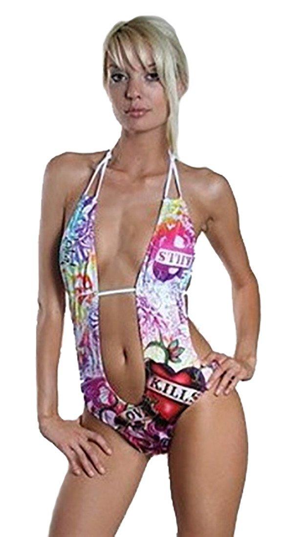 Ed Hardy Love Kills Slowly One Piece Rhinestone Monokini Halter Cut Out Swim Bathing Suit White