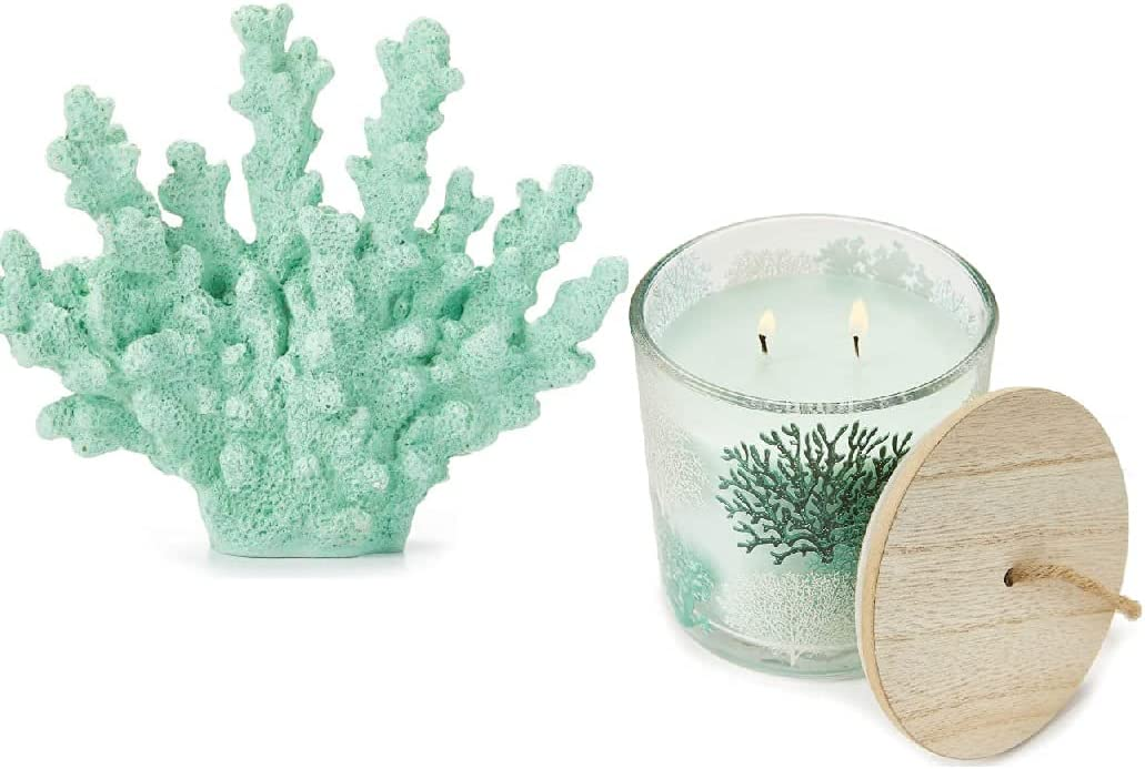Sea Foam Green Coral Tabletop Decor with Ocean Coral Themed Scented Jar Candle Gift Set