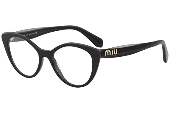 7f2d1604cc9 Image Unavailable. Image not available for. Color  Miu Miu Logo VMU 01R Black  52 18 140 Women Eyewear Frame