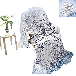"Flyerer Sea Animals Decor Fleece Throw Blanket  Sketch of Scuba Diver Holding Fin of Dolphin Over Coral Reefs Fish Underwater Teen Girl  60""x50"" Multi"