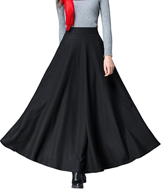 c3870464a038a Femirah Women s Black Winter Wool Blend Long Skirt High Waist A Line Skirt  (Waist