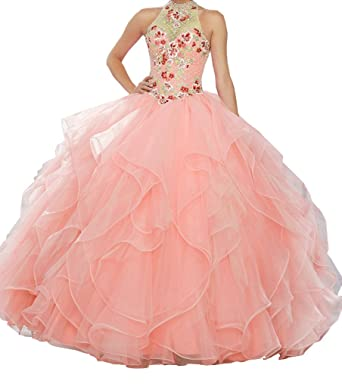 671db3d4f7 BoShi Women s Multicolored Embroidery High Halter Sweet 15 Quinceañera  Dresses 0 US Coral