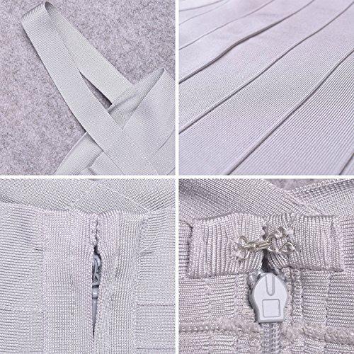 Hlbandage Spaghetti Rayon Bandage Mini Grigio Dress Bodycon Women's Strap rAg6wWUqrR