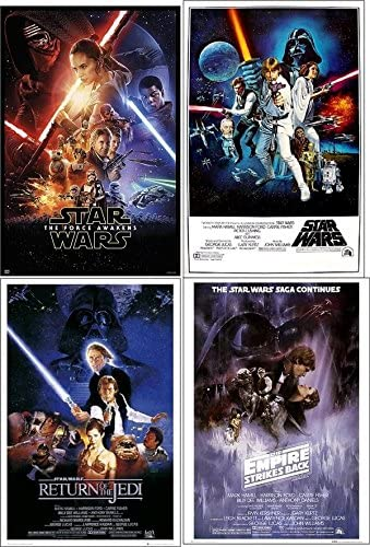 Amazon Com Star Wars Movie Posters Collector Set Of 4 Episode Iv New Hope Episode V Empire Strikes Back Episode Vi Return Of The Jedi Episode Vii Force Awakens Posters Prints