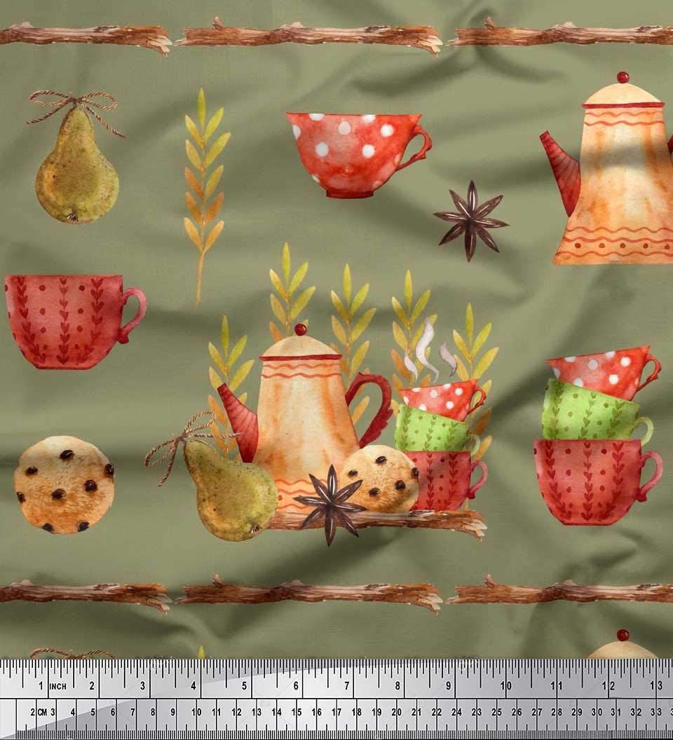 Soimoi verde pesada tela de lona Caldera y tazas de cocina de impresión de tejidos por pulgada Yard 58 Amplio