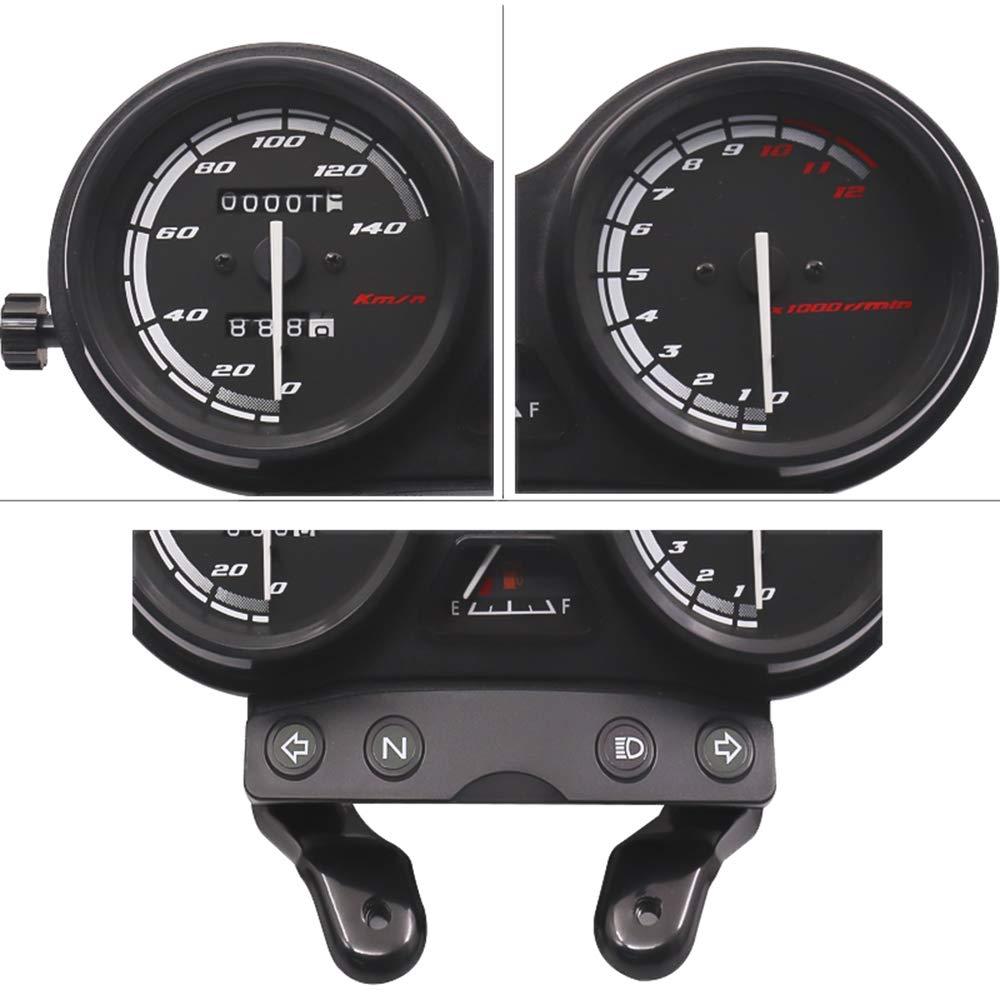 Voupuoda Veloc/ímetro de Motocicleta Cuentakil/ómetros y tac/ómetro Instrumento de Doble Pantalla con Soporte Negro Apto para YBR-125 2005-2009
