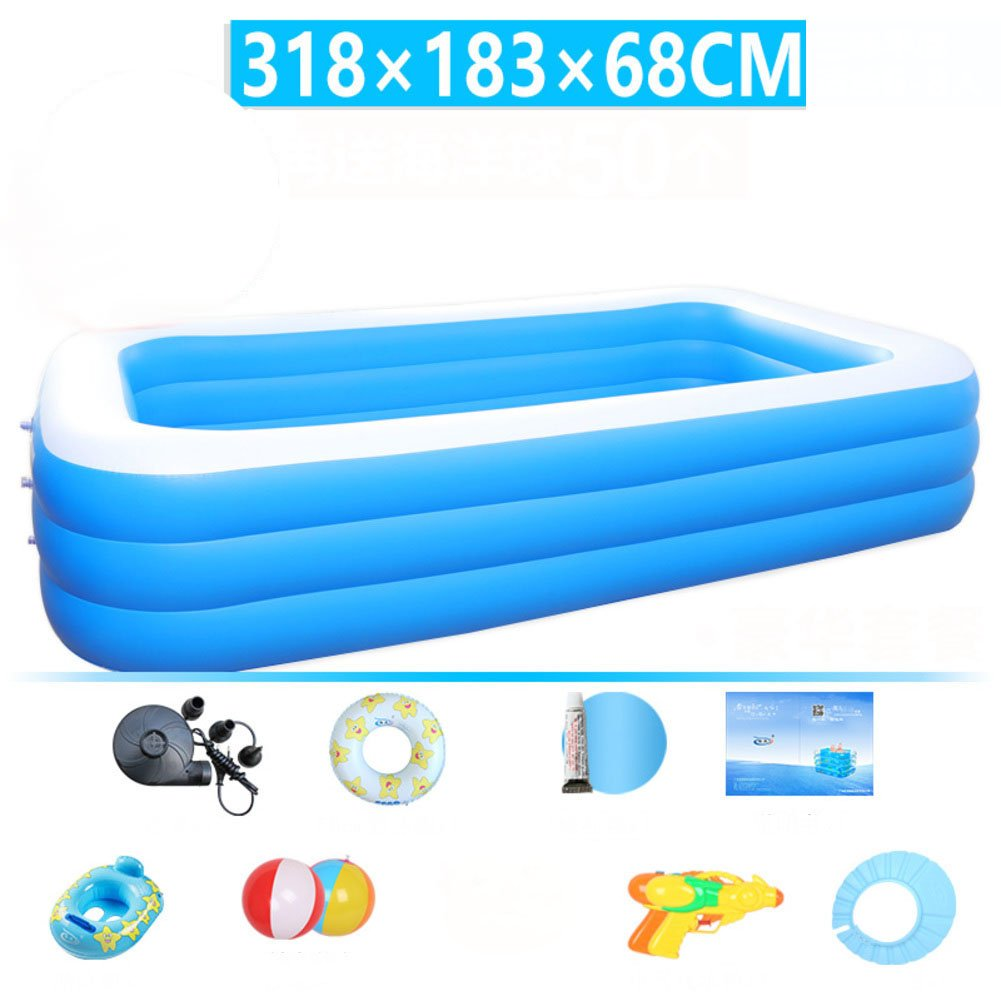 S L&J Rectangular Family Swimming pool Oversized Inflatable Kiddie pool Thick pvc Warm-J