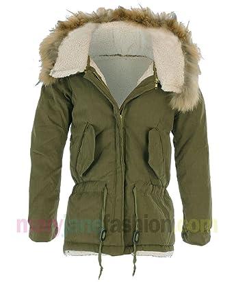 Womens Khaki Fur Lined Trim Detachable Hood Short Parka Coat ...
