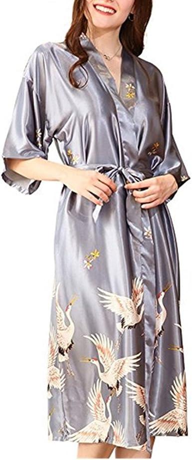 Morbuy Vestido Pijama Mujer Kimono Corto Bata de Satén Kimono ...