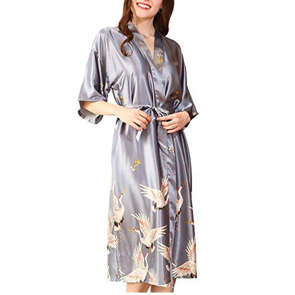 Morbuy Vestido Pijama Mujer Kimono Corto Bata de Satén Kimono Satén Bata Albornoz Camisón: Amazon.es: Ropa y accesorios