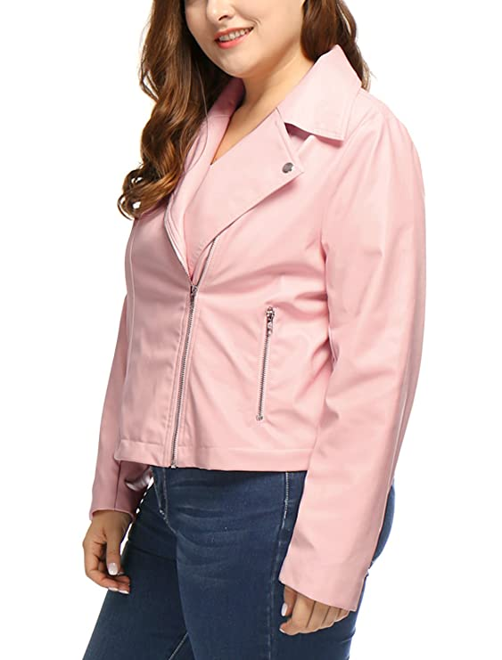 uxcell Womens Plus Size Asymmetrical Zip Front PU Leather ...
