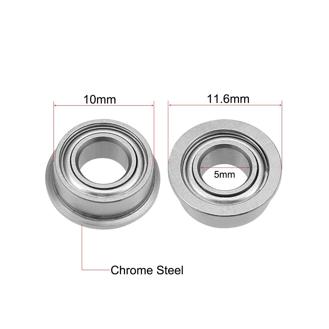 uxcell MF105ZZ Flange Ball Bearing 5x10x4mm Shielded Chrome Bearings 5pcs